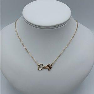Emily Monogram Necklace Gold Toned New